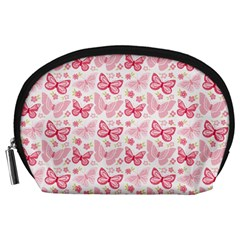 Cute Pink Flowers And Butterflies pattern  Accessory Pouches (Large)