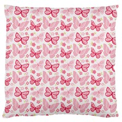 Cute Pink Flowers And Butterflies pattern  Large Flano Cushion Case (Two Sides)