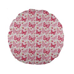 Cute Pink Flowers And Butterflies pattern  Standard 15  Premium Flano Round Cushions
