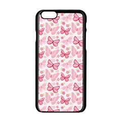 Cute Pink Flowers And Butterflies pattern  Apple iPhone 6/6S Black Enamel Case