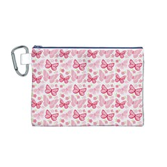 Cute Pink Flowers And Butterflies pattern  Canvas Cosmetic Bag (M)