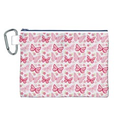 Cute Pink Flowers And Butterflies pattern  Canvas Cosmetic Bag (L)