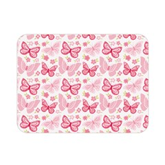 Cute Pink Flowers And Butterflies pattern  Double Sided Flano Blanket (Mini)
