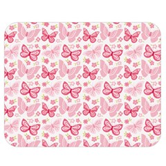 Cute Pink Flowers And Butterflies pattern  Double Sided Flano Blanket (Medium)
