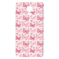 Cute Pink Flowers And Butterflies pattern  Galaxy Note 4 Back Case