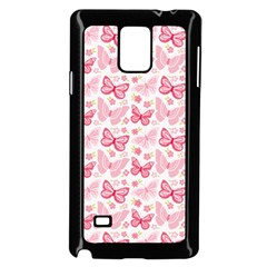 Cute Pink Flowers And Butterflies pattern  Samsung Galaxy Note 4 Case (Black)