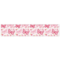 Cute Pink Flowers And Butterflies pattern  Flano Scarf (Small)
