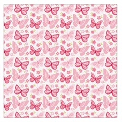 Cute Pink Flowers And Butterflies pattern  Large Satin Scarf (Square)