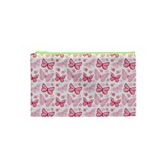 Cute Pink Flowers And Butterflies pattern  Cosmetic Bag (XS)
