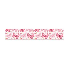 Cute Pink Flowers And Butterflies pattern  Flano Scarf (Mini)