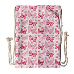 Cute Pink Flowers And Butterflies pattern  Drawstring Bag (Large)