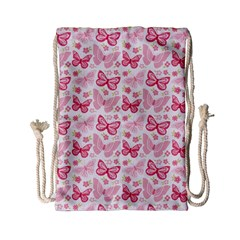 Cute Pink Flowers And Butterflies pattern  Drawstring Bag (Small)
