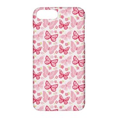 Cute Pink Flowers And Butterflies Pattern  Apple Iphone 7 Plus Hardshell Case