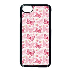 Cute Pink Flowers And Butterflies Pattern  Apple Iphone 7 Seamless Case (black)