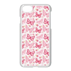 Cute Pink Flowers And Butterflies pattern  Apple iPhone 7 Seamless Case (White)