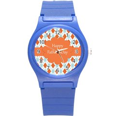 happy Father Day  Round Plastic Sport Watch (S)