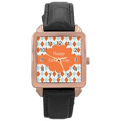 happy Father Day  Rose Gold Leather Watch