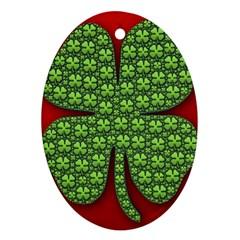 Shamrock Irish Ireland Clover Day Ornament (Oval)