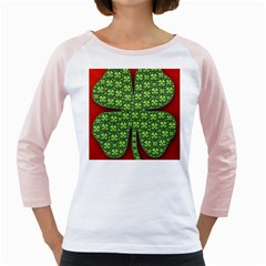 Shamrock Irish Ireland Clover Day Girly Raglans