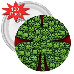 Shamrock Irish Ireland Clover Day 3  Buttons (100 pack)