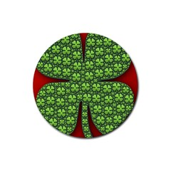 Shamrock Irish Ireland Clover Day Rubber Round Coaster (4 Pack)