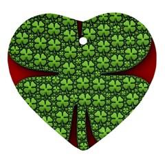 Shamrock Irish Ireland Clover Day Heart Ornament (two Sides)