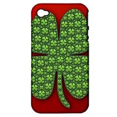 Shamrock Irish Ireland Clover Day Apple iPhone 4/4S Hardshell Case (PC+Silicone)