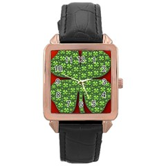 Shamrock Irish Ireland Clover Day Rose Gold Leather Watch