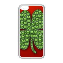 Shamrock Irish Ireland Clover Day Apple iPhone 5C Seamless Case (White)
