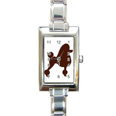 Poodle Brown Silo Rectangle Italian Charm Watch