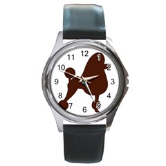 Poodle Brown Silo Round Metal Watch