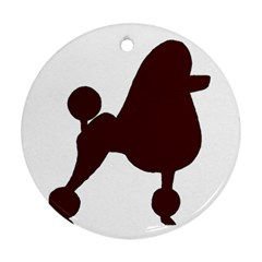 Poodle Brown Silo Ornament (Round)