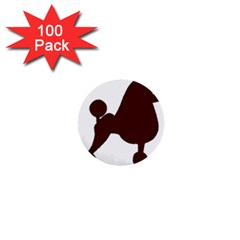 Poodle Brown Silo 1  Mini Buttons (100 pack)