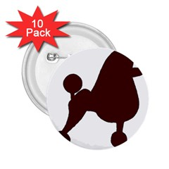 Poodle Brown Silo 2.25  Buttons (10 pack)