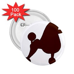 Poodle Brown Silo 2.25  Buttons (100 pack)