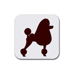 Poodle Brown Silo Rubber Coaster (Square)