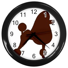 Poodle Brown Silo Wall Clocks (Black)