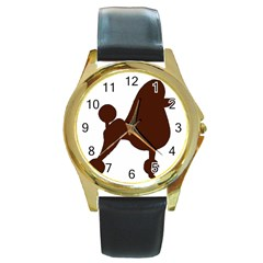 Poodle Brown Silo Round Gold Metal Watch