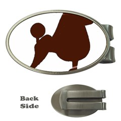 Poodle Brown Silo Money Clips (Oval)