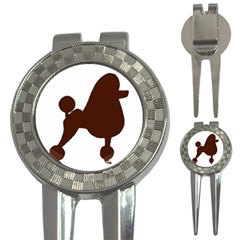 Poodle Brown Silo 3-in-1 Golf Divots