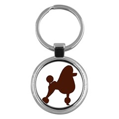 Poodle Brown Silo Key Chains (Round)