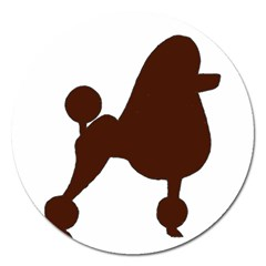 Poodle Brown Silo Magnet 5  (Round)