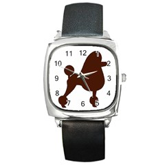 Poodle Brown Silo Square Metal Watch