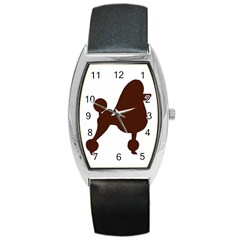 Poodle Brown Silo Barrel Style Metal Watch