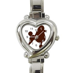 Poodle Brown Silo Heart Italian Charm Watch