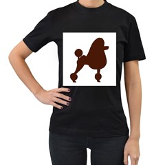 Poodle Brown Silo Women s T-Shirt (Black) (Two Sided)