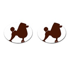 Poodle Brown Silo Cufflinks (Oval)