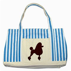 Poodle Brown Silo Striped Blue Tote Bag