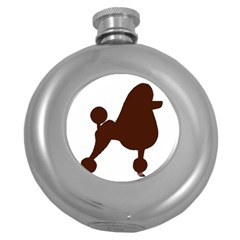 Poodle Brown Silo Round Hip Flask (5 oz)