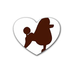 Poodle Brown Silo Heart Coaster (4 pack)